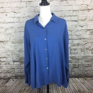 Chico's blue textured blouse